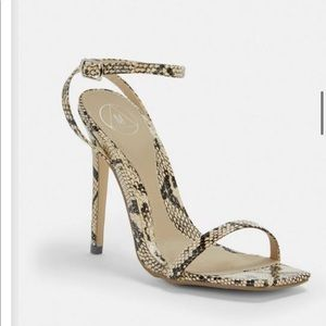 Ankle strap gray snake print square toe heel